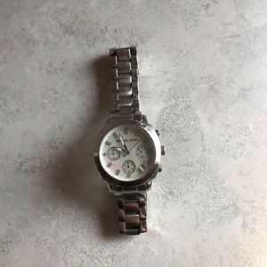 Silver Michael Kors Watch with diamonds on face